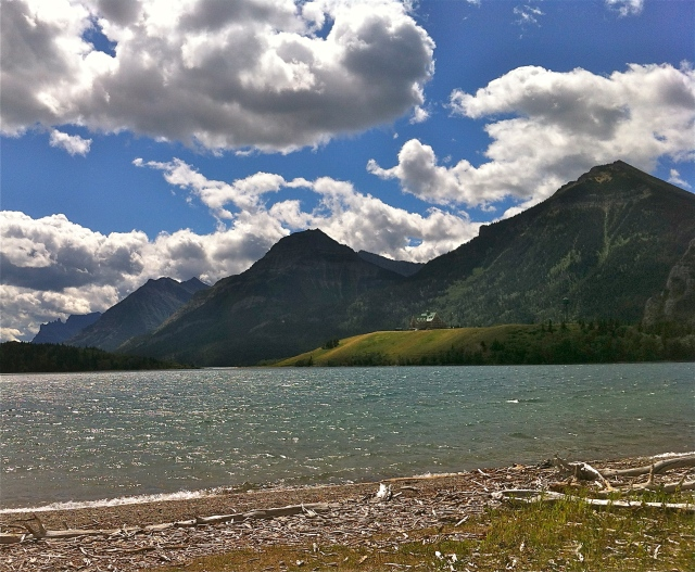 Prince of Wales Hotel sits on a little peninsula at the crux of two lakes at Waterton Park.